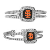Crystal Studded Cable Cuff Bracelet With Square Pendant-Interlocking IS