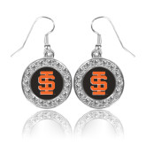 Crystal Studded Round Pendant Silver Dangle Earrings-Interlocking IS