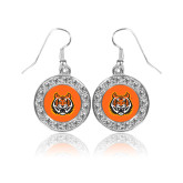 Crystal Studded Round Pendant Silver Dangle Earrings-Bengal Head