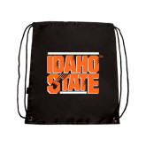 Nylon Black Drawstring Backpack-Idaho State Block
