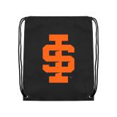 Black Drawstring Backpack-Interlocking IS