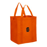 Non Woven Orange Grocery Tote-Interlocking IS