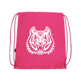 Nylon Pink Drawstring Backpack-Bengal Head