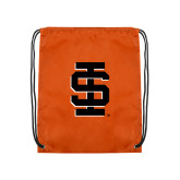 Nylon Orange Drawstring Backpack-Interlocking IS