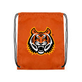 Orange Drawstring Backpack-Bengal Head
