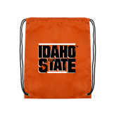 Nylon Orange Drawstring Backpack-Idaho State Block