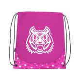 Nylon Pink Bubble Patterned Drawstring Backpack-Bengal Head