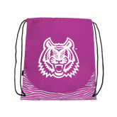 Nylon Zebra Pink/White Patterned Drawstring Backpack-Bengal Head
