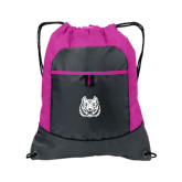 Nylon Pink Raspberry/Deep Smoke Pocket Drawstring Backpack-Bengal Head