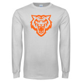 White Long Sleeve T Shirt-Primary Athletics Mark - One Color