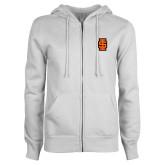 ENZA Ladies White Fleece Full Zip Hoodie-Interlocking IS - Two Color
