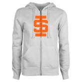ENZA Ladies White Fleece Full Zip Hoodie-Interlocking IS - One Color