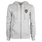 ENZA Ladies White Fleece Full Zip Hoodie-Primary Athletics Mark