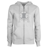ENZA Ladies White Fleece Full Zip Hoodie-Pharmacy Seal
