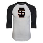 White/Black Raglan Baseball T-Shirt-Interlocking IS