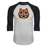 White/Black Raglan Baseball T-Shirt-Bengal Head