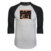 White/Black Raglan Baseball T-Shirt-Idaho State Block
