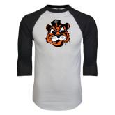 White/Black Raglan Baseball T-Shirt-Vintage Mascot Head