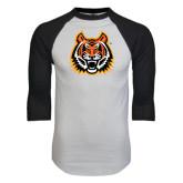 White/Black Raglan Baseball T-Shirt-Bengal Head Distressed