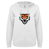 ENZA Ladies White V Notch Raw Edge Fleece Hoodie-Primary Athletics Mark
