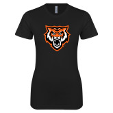 Next Level Ladies SoftStyle Junior Fitted Black Tee-Primary Athletics Mark