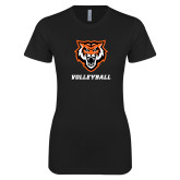 Next Level Ladies SoftStyle Junior Fitted Black Tee-Volleyball