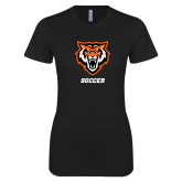 Next Level Ladies SoftStyle Junior Fitted Black Tee-Soccer