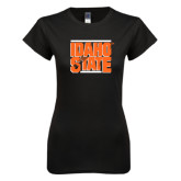 Next Level Ladies SoftStyle Junior Fitted Black Tee-Idaho State Block