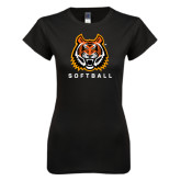Next Level Ladies SoftStyle Junior Fitted Black Tee-Softball