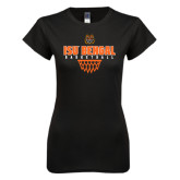 Next Level Ladies SoftStyle Junior Fitted Black Tee-Basketball Net Design