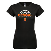 Next Level Ladies SoftStyle Junior Fitted Black Tee-Soccer Ball Design
