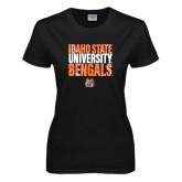 Ladies Black T Shirt-Idaho State University Bengals Stacked