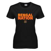 Ladies Black T Shirt-Bengal Nation