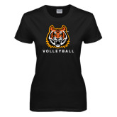 Ladies Black T Shirt-Volleyball