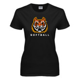 Ladies Black T Shirt-Softball