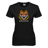 Ladies Black T Shirt-Soccer