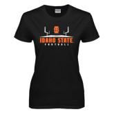Ladies Black T Shirt-Football Field Design
