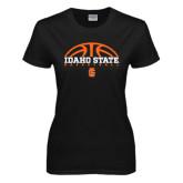 Ladies Black T Shirt-Basketball Ball Design