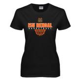 Ladies Black T Shirt-Basketball Net Design