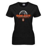 Ladies Black T Shirt-Volleyball Ball Design