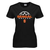 Ladies Black T Shirt-Soccer Ball Design
