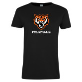 Ladies Black T Shirt-Volleyball