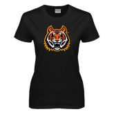 Ladies Black T Shirt-Bengal Head