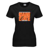 Ladies Black T Shirt-Idaho State Block