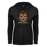 ENZA Ladies Black Fleece Full Zip Hoodie-Football