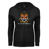 ENZA Ladies Black Fleece Full Zip Hoodie-Volleyball
