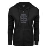 ENZA Ladies Black Fleece Full Zip Hoodie-Interlocking IS Glitter