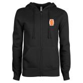 ENZA Ladies Black Fleece Full Zip Hoodie-Interlocking IS - Two Color