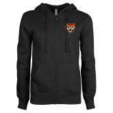 ENZA Ladies Black Fleece Full Zip Hoodie-Primary Athletics Mark