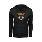 ENZA Ladies Black Fleece Full Zip Hoodie-Interlocking IS